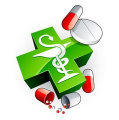 Caducée et médicaments