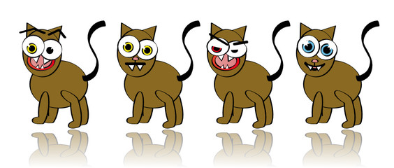 Vector Collection of Silly Cat Illustrations