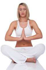 Fitness series - Blond young woman in yoga position