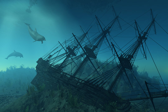 Shipwreck Beneath the Sea - 3d render