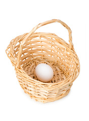 Basket with one egg isolated on white
