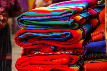 Brightly colored Mayan textiles in the market