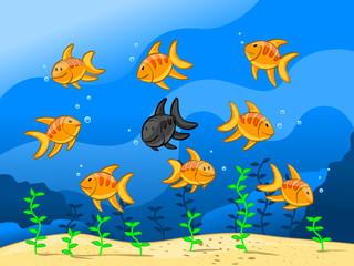 nine fishes (editable layers)