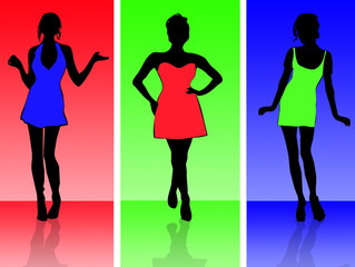 Colourful girls abstract