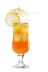 Ice tea with an umbrella and straw