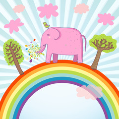 Poster Regenboog Cartoon summer illustration - cute pink elephant on a rainbow