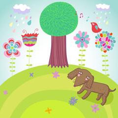 Tuinposter Honden Happy summer background