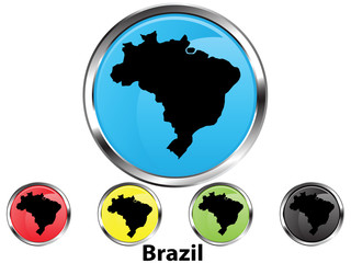 Glossy vector map button of Brazil