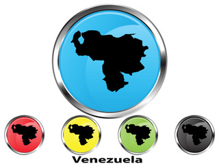 Glossy vector map button of Venezuela