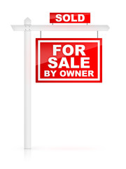 For Sale by Owner Sign with Sold