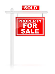 Property for Sale Sign with Sold