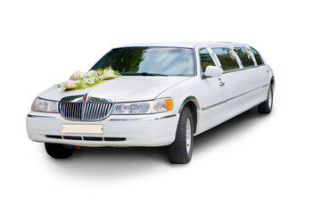 Wedding limousine isolated over white background