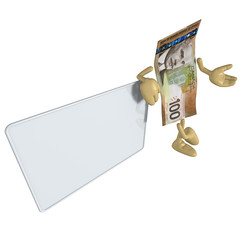 Money With Blank Sign