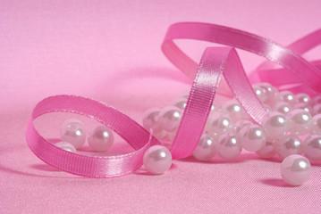 pearls and satin pink  ribbon