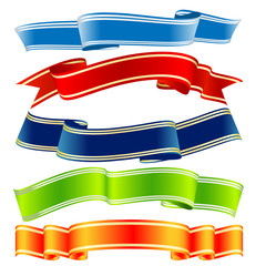 five colorful vector ribbons over white background