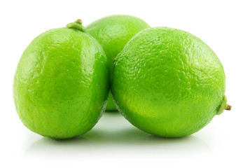 Ripe Green Lime Isolated on White