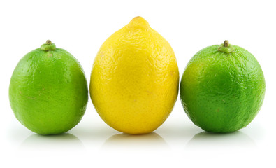 Ripe Lime and Lemon Isolated on White