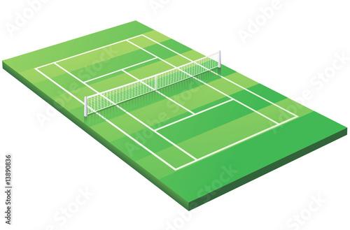 Terrain de tennis sur gazon 3d d tour fichier for Prix terrain de tennis