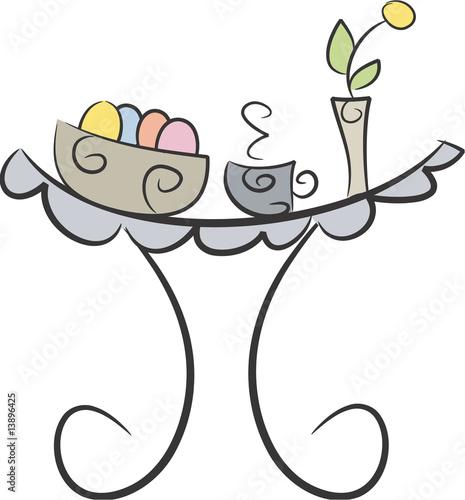 Gedeckter tisch gezeichnet  Oster-Frühstück (II): Gedeckter Tisch mit Eiern, Tasse, Vase ...