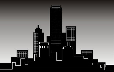nocturnal landscapes, buildings in the big city