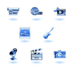 A set of shiny glossy media icons