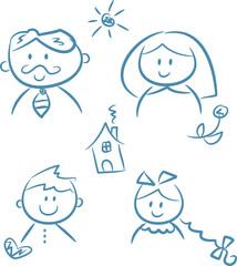 Familie: Mutter, Vater, Tochter, Sohn (+ Symbole)