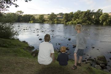 family at riverside