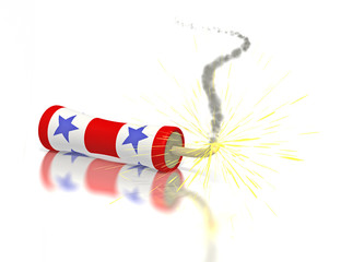 Red white and blue firecracker