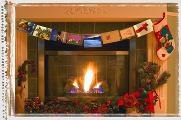 Traditional Christmas fireplace