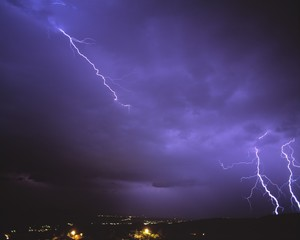 Storm at night with lightning