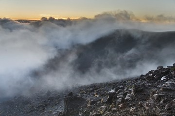 Haleakala crater with smoke