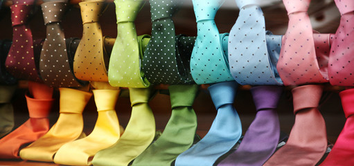 Varicolored Ties in a shopwindow