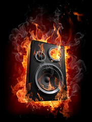 Foto op Canvas Vlam Burning speaker