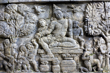 Fototapete - Bas-Relief at Mendut Temple, Indonesia