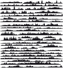 Set of silhouettes of cities