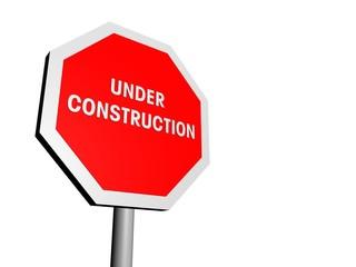 Stoppschild under construction schraeg