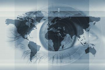 eye and worldmap - fototapety na wymiar