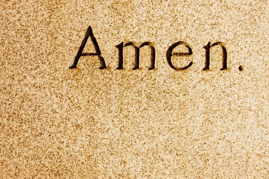 Amen engraved