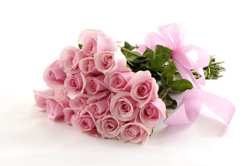 Pink rose valentines or wedding posy isolated on white