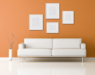 white sofa in a orange living-room-rendering