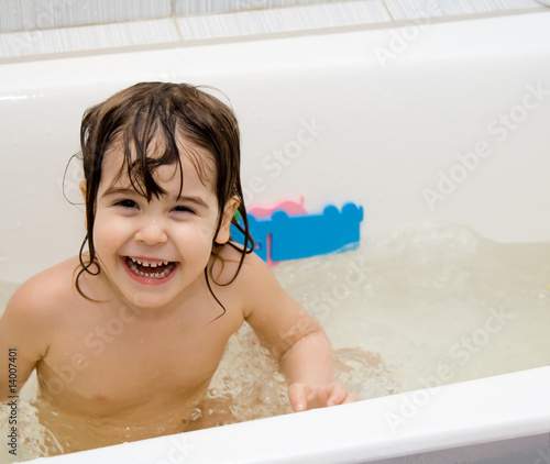"Bathroom Pic Girl: ""little Girl Take A Bath"" Stock Photo And Royalty-free"