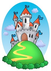 Poster Chateau Fairy tale castle with clouds