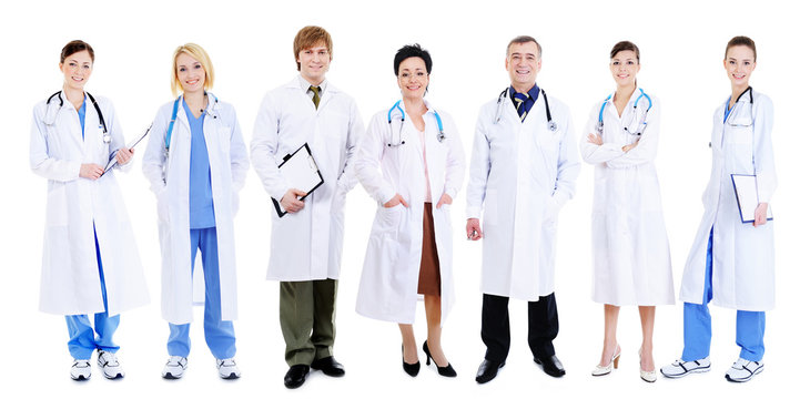 team of happy laughing doctors