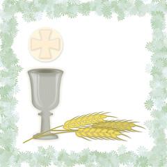 Simboli della Prima Comunione con cornice