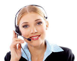 Portrait of Beautiful business woman with headphones