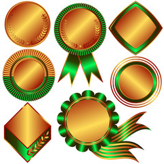 Collection of bronze medals and counters (vector)