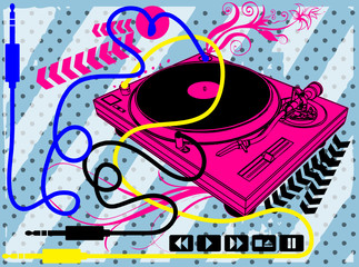 Music Print Design Artwork / Turntable