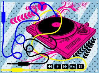 Music Print Design Artwork / Turntable