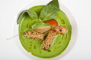 soup from spinach with shrimps and fuagra