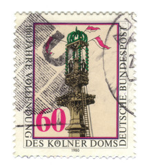 Old canceled german stamp with Cologne Cathedral